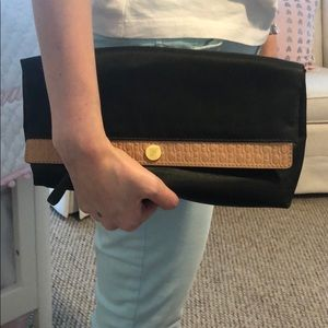 Carolina Herrera Olive green satin clutch